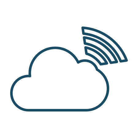 High quality dark blue outlined cloud connection icon. Pictogram, icon set, bundle. Useful for web site, banner, greeting cards, apps and social media posts.