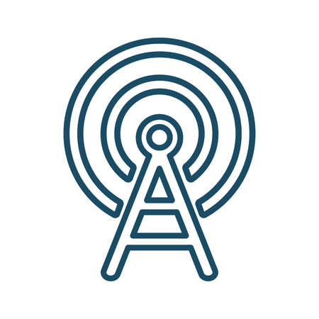 High quality dark blue outlined antenna radio wave, frequency icon. Pictogram, icon set, bundle. Useful for web site, banner, greeting cards, apps and social media posts.