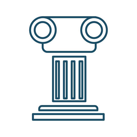 High quality dark blue outlined ancient greek column icon on white background. Pictogram, icon set, illustration. Useful for web site, banner, greeting cards, apps and social media posts.