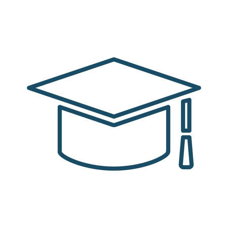 High quality dark blue flat academician graduate cap icon. Pictogram, icon set, illustration. Useful for web site, banner, greeting cards, apps and social media posts.