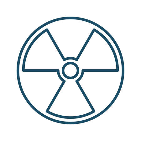 High quality dark blue outlined nuclear radioactive hazard icon on white background. Pictogram, icon set, illustration. Useful for web site, banner, greeting cards, apps and social media posts. Banco de Imagens