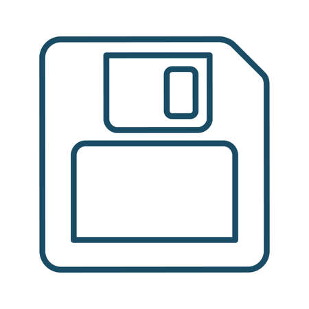 High quality dark blue outlined floppy disk icon. Pictogram, icon set, illustration. Useful for web site, banner, greeting cards, apps and social media posts. Banco de Imagens