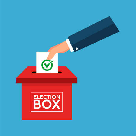 Voting hand into election box on blue background. Election day, vote for democracy. Useful for website design, banner, print media, mobile apps and social media posts.