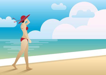 beach side: Woman walking on the beach