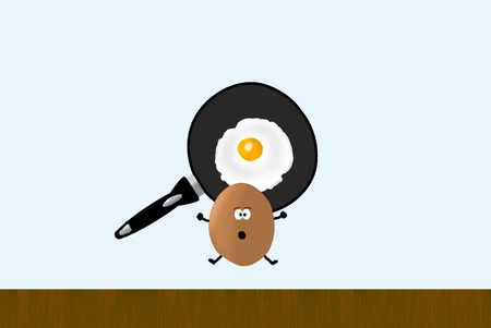 an illustration of an egg and a pan