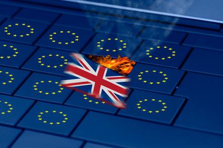 eu flag: brexit and eu flag on a pc keyboard