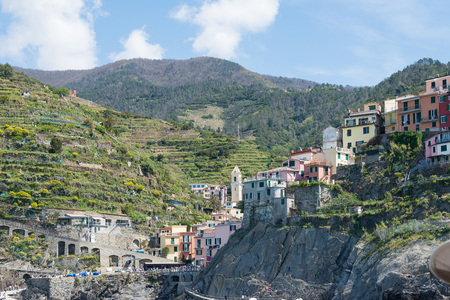 mediaval: a view of cinque terre, some beautiful towns in liguria, italy