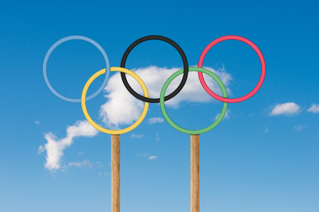 olympic rings: SAN MARINO, RSM - JULY 03, 2016: Olympic rings stand under bright blue sky i Editorial