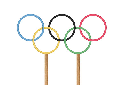 olympic rings: SAN MARINO, RSM - JULY 03, 2016: Olympic rings stand under bright blue sky