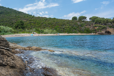 livorno: a view of elba island in italy