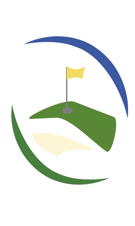 golfcourse: green golf field with yellow flag