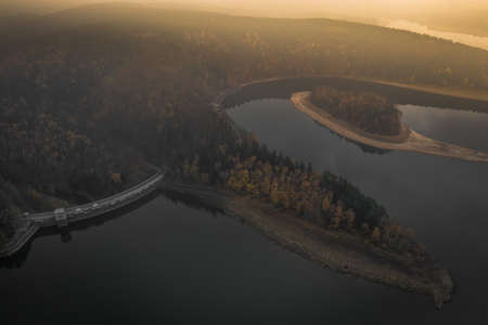 Sec dam is an artificial water reservoir located in Pardubice Region, Czech Republic. The dam also has a regulatory function and its water is used in some water power plants. Stok Fotoğraf - 123276847