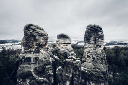 Hruba Skala is located next to the sandstone 'rock town', stretching to Trosky Castle. 写真素材 - 124692761