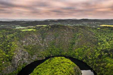 The Vltava River is 430.3 km long and drains an area of 28,090 square km in size, over and over the Czech Republic's entire territory. Stok Fotoğraf - 124692764