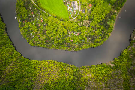 The Vltava River is 430.3 km long and drains an area of 28,090 square km in size, over and over the Czech Republic's entire territory. Stok Fotoğraf - 124692774