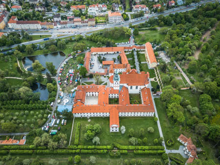 Brevnov Monastery and Benedictine Archabbey in Prague, Czech Republic. It was founded by Saint Adalbert, the second Bishop of Prague, in 993 AD with the support of Duke Boleslav II. Stok Fotoğraf - 124696730