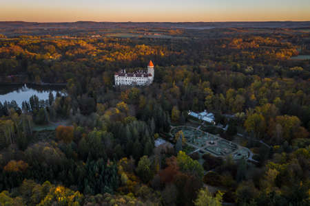 Konopiste is a four-winged, three-storey chateau located in the Czech Republic. It has become famous as the last residence of Archduke Franz Ferdinand of Austria, the Austro-Hungarian throne. Stok Fotoğraf - 124660022