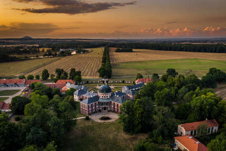Veltrusy Mansion is located in Veltrusy, Bohemia, in the Melnik District of the Czech Republic. The mansion is situated near the banks of the Vltava River, about 25 km north of Prague Stok Fotoğraf