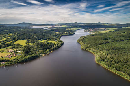 The Lipno Reservoir is a dam and hydroelectric plant constructed along the Vltava River in the Czech Republic. Sumava National Park and Nature Reserve