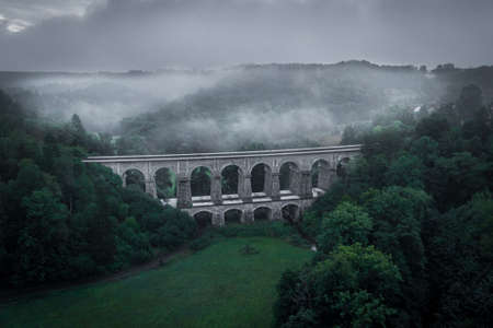Sychrov stone railway viaduct was built in 1857-1859, construction was carried out by brothers Klein and V. Lanna. In the upper part there are 8 arches with a span of 9.5 meters. 版權商用圖片