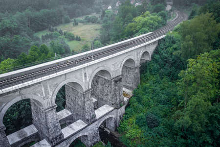 Sychrov stone railway viaduct was built in 1857-1859, construction was carried out by brothers Klein and V. Lanna. In the upper part there are 8 arches with a span of 9.5 meters.