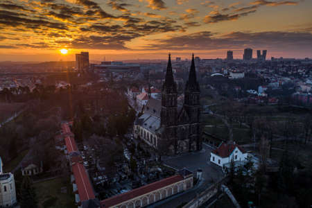 The Basilica of St Peter and St Paul is a neo-Gothic church in Vysehrad fortress in Prague, Czech Republic. Founded in 1070-1080 by the Czech King Wroclaw II, Behind the Church is a famous cemetery. Editorial