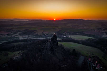 Trosky Castle is a castle ruin in Liberec Region, Czech Republic. Is on the summits of two basalt volcanic plugs. The castle is a landmark in the countryside known as Bohemian Paradise.