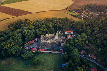 Okor castle. In 1228 a stronghold was built in the small hamlet of Okor. It was later modified into a Gothic castle, founded in 1359 by Frantisek Rokycansky, a wealthy burgher of Prague's Old Town.