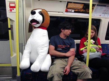 London Tube, June 2011: Toy dog passenger enjoys the London underground.