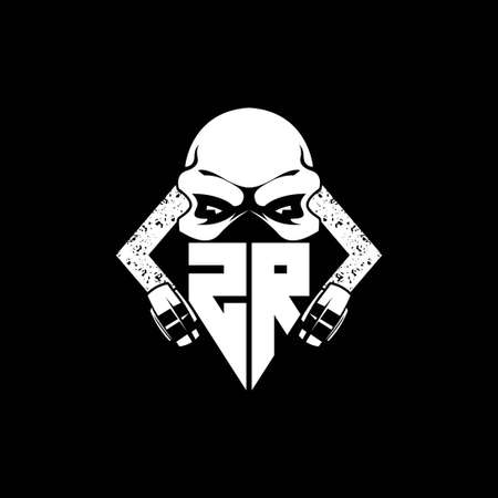 ZR Monogram ESport Gaming with Skull Mask Shape Style Vector
