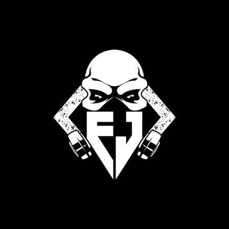 FJ Monogram ESport Gaming with Skull Mask Shape Style Vector Vektoros illusztráció