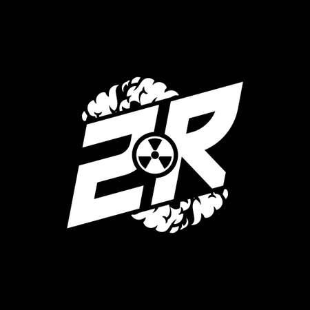 ZR Initial ESport Monogram with Shape and Smoke Style template vector Vektoros illusztráció