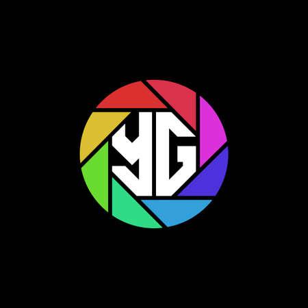 YG Monogram Logo Letter Geometric Polygonal lens rainbow circle shape style