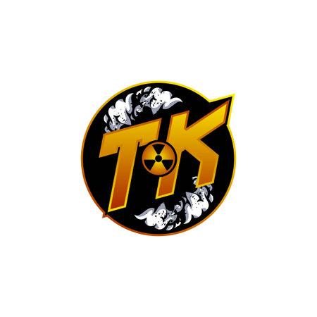 TK Logo Monogram Gaming with Gas Shape designs template vector icon modern Logó