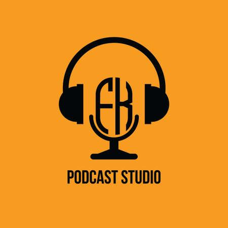 FK Monogram Logo Letter Headphone and Microphone shape style vector, Podcast Studio Logo