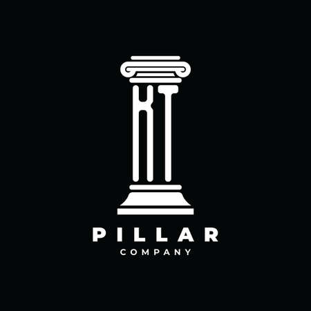 KT Monogram Logo Letter Pillars shape lawyer style vector, law firm company isolated in black background