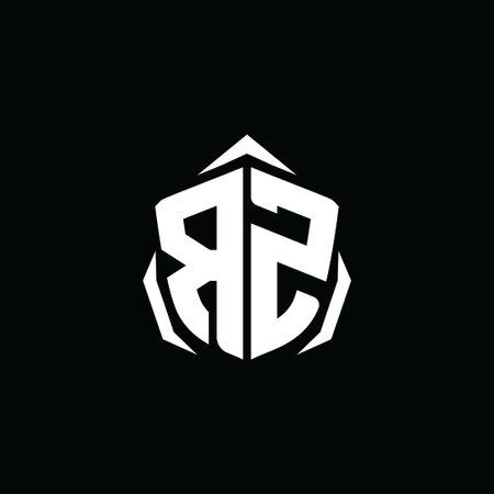 RZ Initial ESport gaming logo. Monogram shield geometric shape style vector Logó
