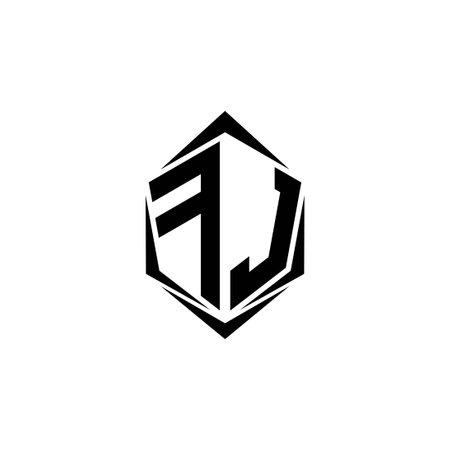 Initial FJ logo design with Shield style, Logo business branding.