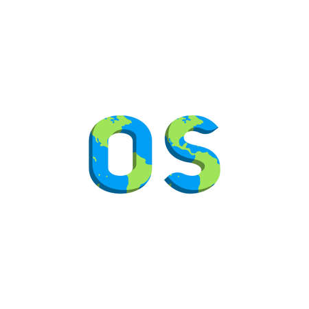 Initial OS logo design with World Map style, Logo business branding.