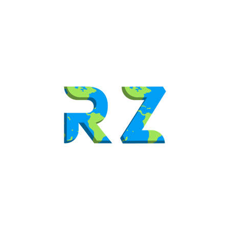 Initial RZ logo design with World Map style, Logo business branding.