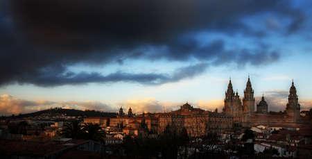 galicia: santiago de compostela cathedral at early evening