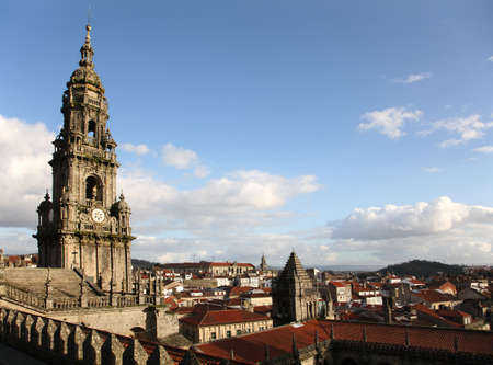 santiago: santiago de compostela cathedral tower from roof Stock Photo
