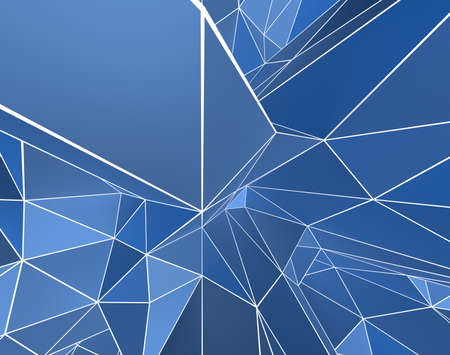 3D Abstract Pattern with Blue Shading White Wireframe