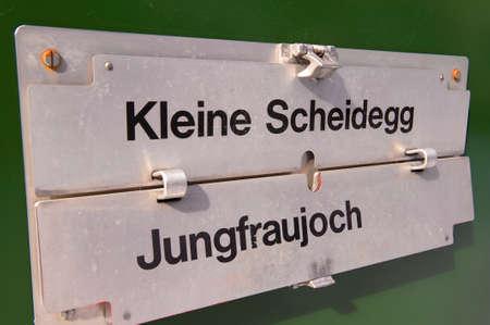 jungfraujoch: Grindelwald, Switzerland - March 07, 2009: Route board sign at the train heading to Jungfraujoch, Switzerland.