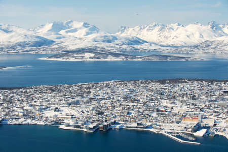 Aerial view to the city of Tromso, 350 kilometers north of the Arctic Circle, Norway. photo