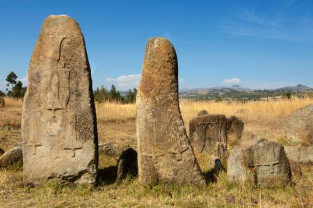 unesco world cultural heritage: Mysterious megalithic Tiya stone pillars, UNESCO World Heritage Site, Ethiopia.