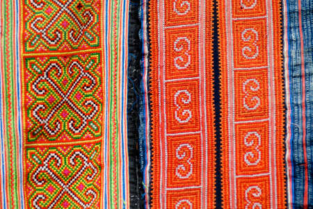 miao: Textile detail of Black Miao (Hmong) minority traditional women, Sapa, Vietnam. Stock Photo