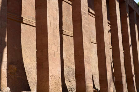 Columns of the rock-hewn church in Lalibela, Ethiopia. site photo