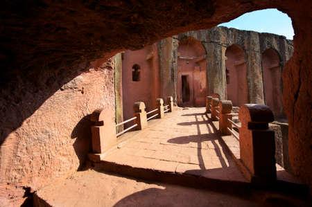 world heritage site: Unique monolithic rock-hewn church, Lalibela, Ethiopia. UNESCO World Heritage site.