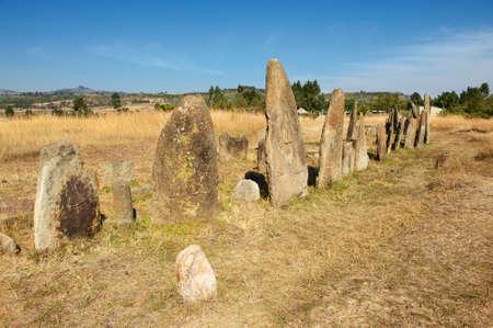 world heritage site: Mysterious megalithic Tiya stone pillars, UNESCO World Heritage Site, Ethiopia.